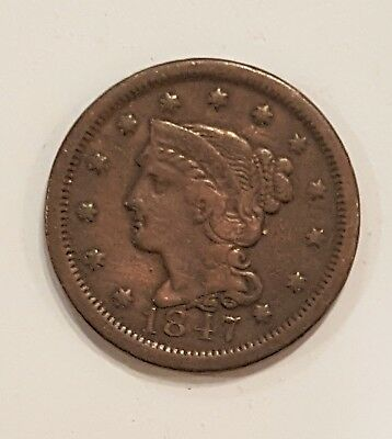 1847 Braided Hair , Large Cent,  US Penny - No Reserve - starting at $0.01