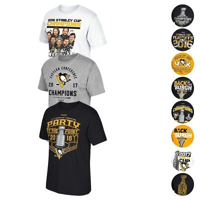 Pittsburgh Penguins Reebok 2016 & 2017 Stanley Cup Various Graphic T-Shirt Men's