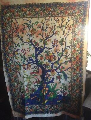 Funky Boho Indi Tribal Ethnic Fabric Multi Colour Tree Of Life Art Wall Hanging
