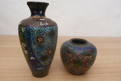 Two Very Nice Unusual 18Thc Chinese Cloisonne Vases Pots Jars