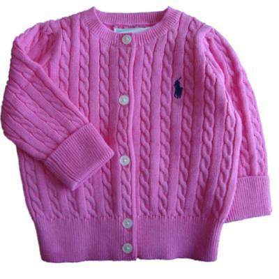 Genuine Ralph Lauren Polo  baby girls cotton cardigan cable pink 6,18,24 m SAVE