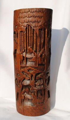 """19Thc Antique Chinese Hand Carved Wood Bamboo Brush Pot Height 32.5 Cm. 12""""3/4."""