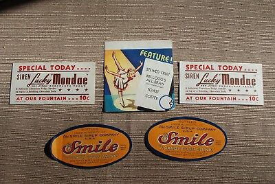 Vintage - 1930's - Lot of Five - Soda Fountain - Paper Signs