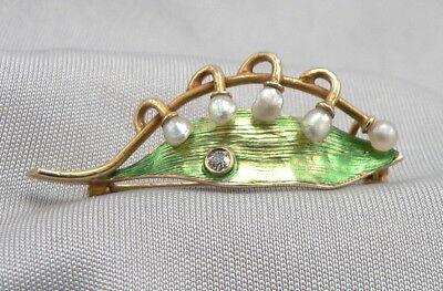 Antique Art Nouveau 14K GOLD Enamel Pearl Pin Lilly of the Valley Leaf Diamond