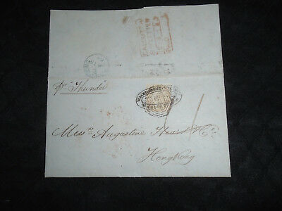 India 1863 Entire CALCUTTA SHIP LETTER  HONG KONG China cds Type 13 2a Adhesive
