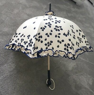 Vintage Walking Parasol Wooden Handle Ruffle 33""