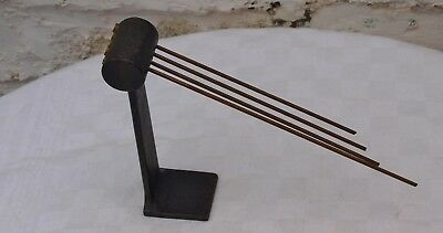 VINTAGE MANTEL CLOCK METAL & BRASS CHIMING GONG BAR 1of3