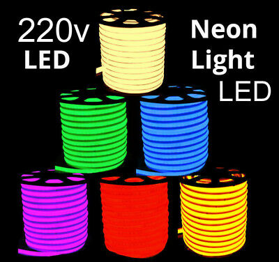 Flexible Neon 220v LED Light Glow EL Wire String Strip Rope Tube Decoration