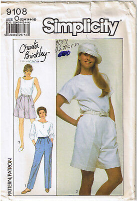 Christie Brinkley Pants Shorts Pleat Front Simplicity Sewing Pattern Sz 12 14 16