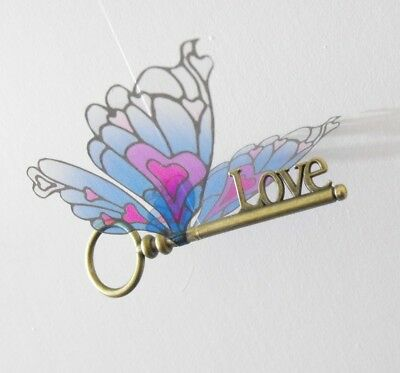 Harry Potter antique brass flying love key, pink & blue heart wings-ABLVHWCL