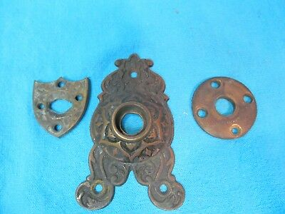 Lot Of Antique Architectural Ornate Brass Door Knob Plate Shield Key Hole