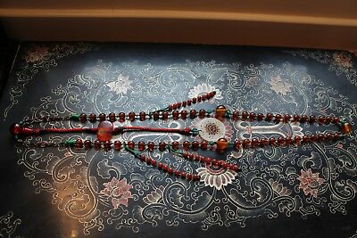 Antique Chinese Court Necklace Amber Glass beads and counterweight Jade Amulet