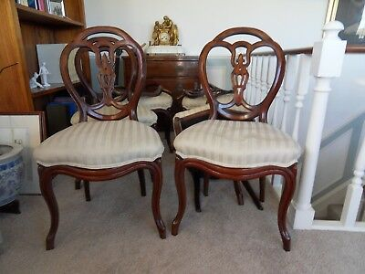 6 Pretty Antique Walnut Dining Chairs Victorian for Restoration