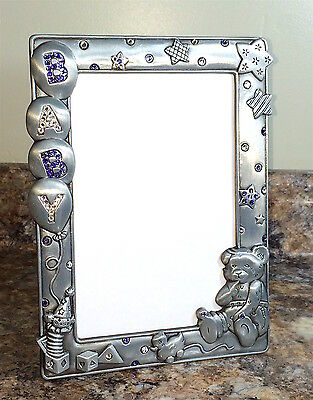 Baby Picture Photo Frame Pewter + Swarovski Crystals Purple  **Hand Blinged**