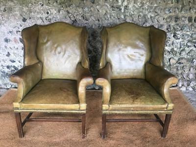 Pair Of C19Th Antique Leather Wing Library Arm Chairs - Club