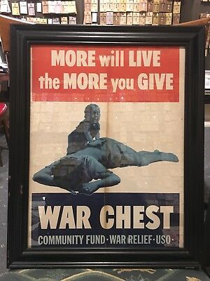 Original Vintage WWII US USO Poster More Live War Chest Community Relief WW2