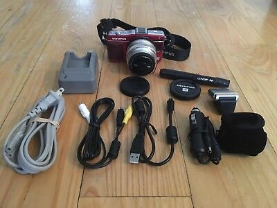 Olympus PEN E-PM2 16.1MP Camera - Red (Body) w/ Olympus 17mm f1.8 lens (Silver)
