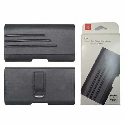 """Verizon Leather Belt Clip Case Pouch For Universal Cell Phones Up To 5"""" Screens"""