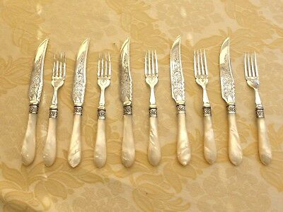 10 Victorian Silver Plate & Mother Of Pearl Cutlery Knives & Forks  1330744/751