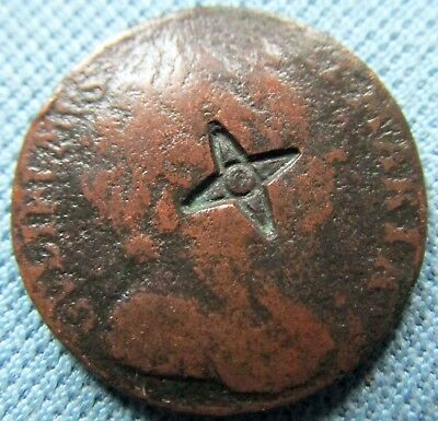 1694 William & Mary British Colonial  Farthing - Counterstamp 4 Point Natal Star