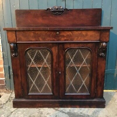 Antique Victorian Mahogany Glazed Leaded Chiffonier Sideboard Dresser with Key