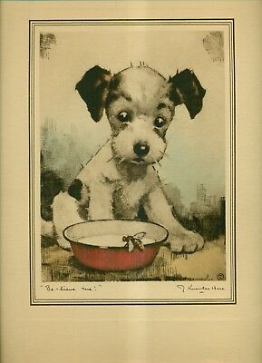 """Vintage J.Knowles Hare Dry Point Etching """"Be-lieve me!"""" Puppy"""