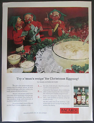 1961 Bacardi Rum Christmas Vintage Print Ad  With Elves And Eggnog Recipe