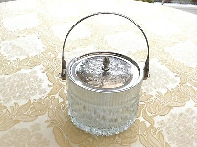 Vintage Glass Ice Bucket With Silver Plated Handle And Lid  1330420/425