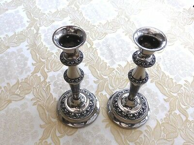 Pair Of Vintage Silver Plated Floral Repousse Candle Sticks    1330231/234