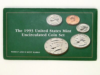 1993 United States Mint Uncirculated Coin Set P and D Marks