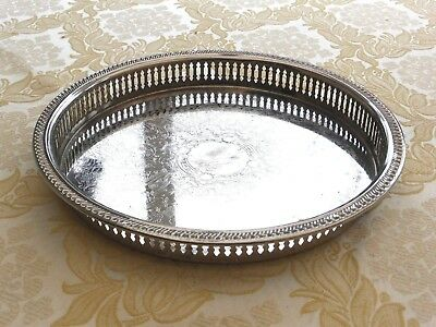 Vintage Silver Plated Round Pierced & Engraved Gallery Tray    1330389/392
