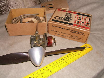 ORIGINAL 1950's E.D. 2.46 diesel model aero engine.WITH BOX accessories and PROP