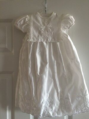 Baptism Christening Organza Floral Gown Dress Baby Girl w/ Bonnet 6-9 months