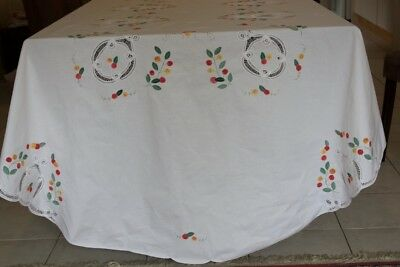 VINTAGE TABLECLOTH Oval White Linen Embroidered Appliqued & Battenburg Lace #111