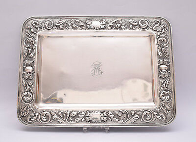 ANTIQUE SOLID SILVER REPOUSSE TRAY. 585 grams / 20.63 ounce.