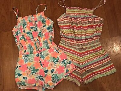 Lot Of Two Girls Multi Strappy Playsuits Age 6-7Yrs Great Condition