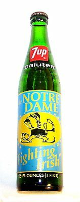 Full 7up Seven Up Notre Dame Irish Football Soda Pop Bottle Can Ticket  NCAA Ofr