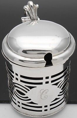 Chester 1909 Initial 'c' Sterling Silver Mustard Pot - Antique