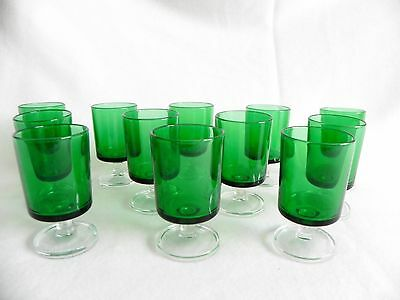 Set 12  Copas Cristal Verde Luminarc  Green Vintage Crystal Glasses