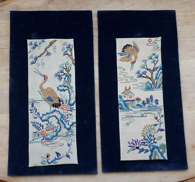 Vintage Chinese Japanese Oriental Asian Silk Picture Embroidered Cranes Flowers