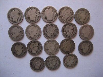 US Barber Dime Silver Lot