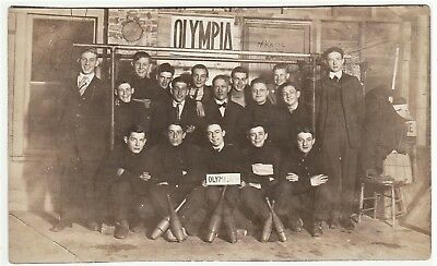 RARE Real Photo - Olympia WA Sports Team w Indian Exercise Clubs 1910 RPPC