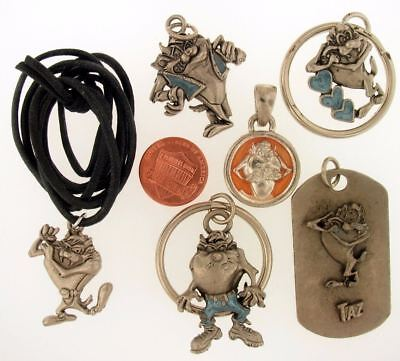 6 Taz Devil Necklace Keychain Charm Warner Bros Looney Tunes Wb Store Lot Set L2