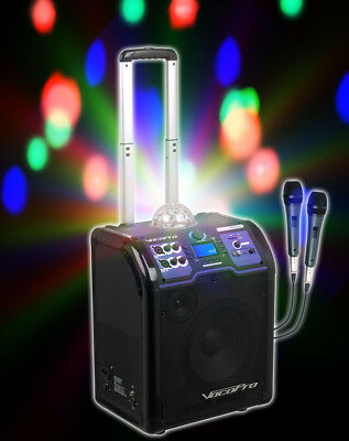 Vocopro Lightshow Rechargeable Bluetooth Karaoke Machine System w/LED's+(2) Mics