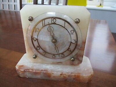 Art Deco Onyx Mantel Clock antique working with Smiths key wind