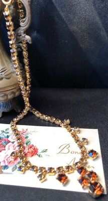 Vintage Estate Glam 50s Amber Rhinestone Drop Bunch Gold Metal Matinee Necklace