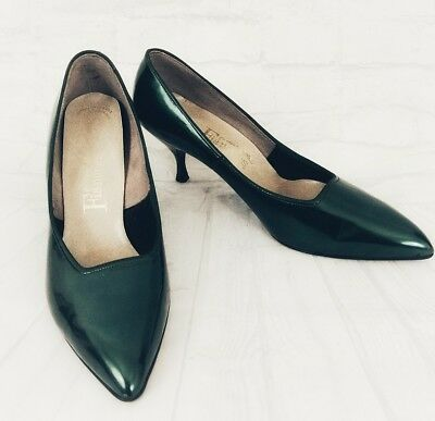 Vtg 50s Fiancees Green Pearl Patent Leather Pumps Heels 9.5 B