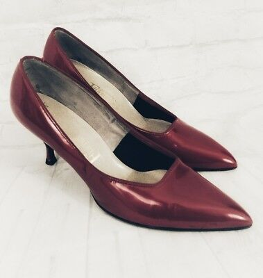 Vintage 1950's Fiancees Red Pearl Patent Pumps Heels 9.5 B