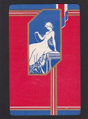 """Genuine Vintage Art Deco Swap Card SINGLE - """"Lady with Pearls"""" Mint (a)"""