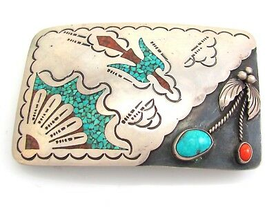 Old Pawn Navajo Sterling Silver Peyote Turquoise Coral Inlay Belt Buckle   SV TL